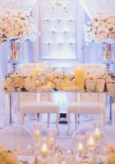 WedLuxe: all-white #wedding decor and floral from event designer Rachel A. Clingen Wedding & Event Design #sweetheart #table