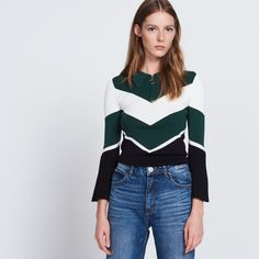 Tricolour Sweater With Trumpet Sleeves - Sweaters & Cardigans - Sandro-paris.com