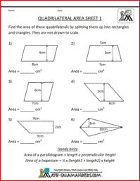 Quadrilateral Area Worksheet, fifth grade geometry worksheet
