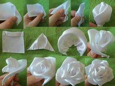 shabby fabrics tutorials how to make & shabby fabrics tutorials how to make Satin Ribbon Roses, Ribbon Art, Satin Flowers, Ribbon Crafts, Flower Crafts, Fabric Roses, White Ribbon, Diy Crafts, Ribbon Embroidery Tutorial