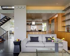 Stunning Contemporary Home Architecture Design: Cozy Modern Living Room Grey Sofa Stair House Interior