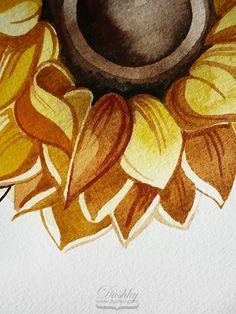 the sunflower by dushky   #watercolor #illustration #plantproject #flower #sunflower #yellow #sun #tattoodesign #dushky