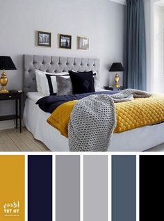 Blue Yellow Gray Bedroom Awesome 25 Inspiring Chic Home Color Schemes and Decorations to Get House Color Schemes, Living Room Color Schemes, House Colors, Interior Design Color Schemes, Gray Color Schemes, Interior Colors, Apartment Color Schemes, Color Schemes For Bedrooms, Gray Interior