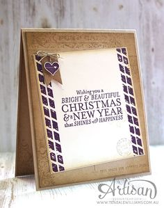 The inside - Wondrous Wreath card - By Teneale Williams | Inside | Stampin'Up! Post Card and Butterfly Basics