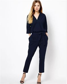 d5ed32fc7908 Elegant Black Navy Blue Chiffon Jumpsuit