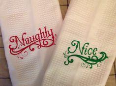 "Custom listing for savannahholly2 Kitchen Christmas Towel Set in Santa's Words :""Naughty or Nice"". $18.00, via Etsy."