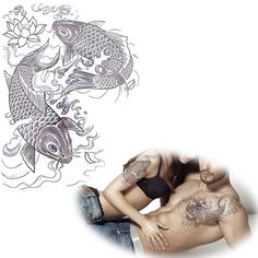 Black Carp Temporary Tattoos Stickers for Lovers,Koi with Lotus Chinese Tattoo,Best Gifts,come here to buy!