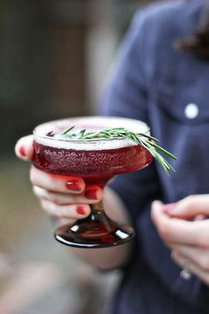 Rosemary Infused Holiday Spritzer     Cranberry  Grape Juice  Prosseco  Vodka  Rosemary Simple Syrup    Instructions:  In a shaker add 1 oz vodka, 4 oz grape juice, 1 teaspoon simple syrup & shake. Pour into champagne coupe & top with prosecco. Garnish with rosemary sprig. * to make rosemary simple syrup: In a quart pan add 1 cup water, 1 cup sugar & 2 sprigs of rosemary. Simmer until sugar is completely dissolved & strain into glass jar.