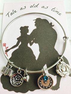 Beauty and the Beast Themed Bangle Bracelet, Adult size, prinecess jewelry, Belle Themed Bracelet by FairytaleBangles on Etsy https://www.etsy.com/listing/483334893/beauty-and-the-beast-themed-bangle