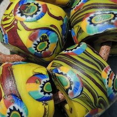 Old African Trade Beads | ... large old antique venetian round millefiori african trade beads #741