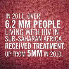 http://www.pcr-proven-hiv-cure.com In 2011, over 6.2 MILLION people living with HIV in sub-Saharan Africa received treatment. Up from 5 MILLION in 2010.