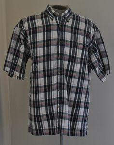 Men's Extra Large BD Baggies Plaid Dress Shirt 100% Cotton Short Sleeve