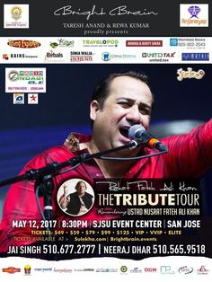 The Legendary Ustad Rahat Fateh Ali Khan live in concert 2017 is making his way to the San Francisco Bay Area for a night of Musical Delight!