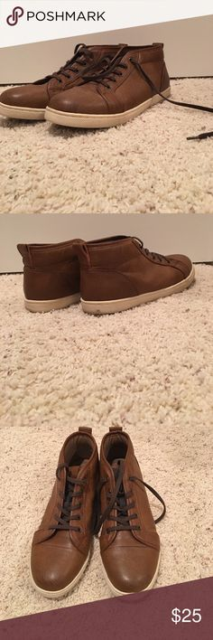 Mid top shoes Light brown leather. Lightly worn. Scuff marks on the mid sole Apt. 9 Shoes Sneakers