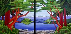 I recently finished a diptych (two piece painting) for a couple who have a cabin in the San Juan Islands. They wanted a painting that rese. San Juan Islands, Aquarium, Landscape, Painting, Inspiration, Color, Thoughts, Art, Fish Stand