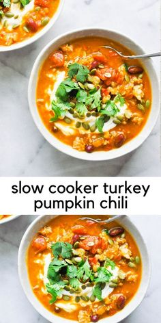 This slow cooker turkey pumpkin chili is a delicious, warming recipe for chilly fall nights. You are going to love this chili! This gorgeous pumpkin chili hits all the best flavor combos. #turkeychili #pumpkinrecipe #turkey #fallrecipe