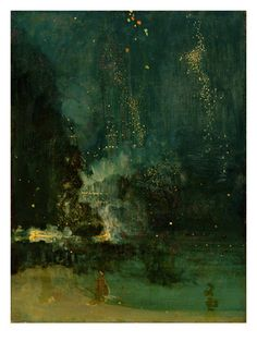 Nocturne in Black and Gold, the Falling Rocket, C.1875 (Oil on Panel) Giclée-tryk