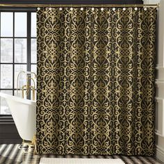 Gold Shower Curtain On Pinterest Shower Curtains Curtains And Contemporary Shower