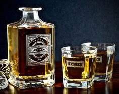 Boyfriend Gift – Personalized Whiskey Decanter Set – Gifts for Him, Groomsmen Gifts