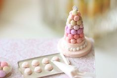 Dollhouse Miniatures, Miniature Food Jewelry, Craft Classes: Student's Macaron Tower