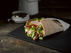 Gluten Free Sausage, Pepper and Sprouting Bean Wrap with HECK's Gluten Free Pork Sausages | Newburn Bakehouse