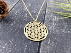 Raw Brass Flower of Life Necklace, Raw Brass Flower of Life Pendant on 14k Gold-Filled Chain, Unisex Layering Necklace for Yoga Lovers by MayaMadeThis on Etsy