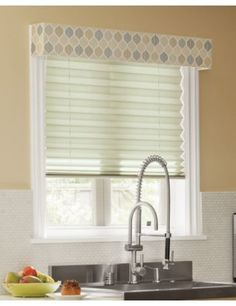 "Tailored Upholstered Cornice in 14438 Iridescent Ogee/ Steel Layered over Classic 1 7/8"" Pleated Shades in 14109 Linen/ Dream #Kitchen #Sink #Shades"