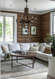 Log home interior - Living Room Color Trends A Touch Of Yellow For Summer – Log home interior Modern Cabin Interior, Cabin Interior Design, House Design, Modern Cabin Decor, Design Hotel, Living Room Designs, Living Spaces, Living Room Decor, Modern Log Cabins