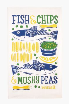 Fish & chips & mushy peas tea towel print by Matt Johnson for Seasalt Cornwall.