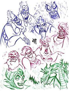 Walt Disney Fan Art - Disney Villains Sketch - walt-disney-characters Fan Art