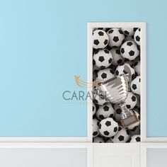 Παιδικό Αυτοκόλλητο Πόρτας μπάλες ποδοσφαίρου