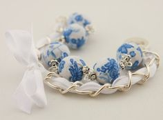 Really striking 14mm round beads covered with cotton fabric