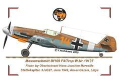 W.Nr. 10137 This aircraft was used in the summer of 1942 until his leaving from North Africa for his homecoming in August of 1942. This machine had a normal factory finished tropical color scheme. His aerial victories numbered 100 so that the 70 victories record was displayed with an oak leaves decoration.