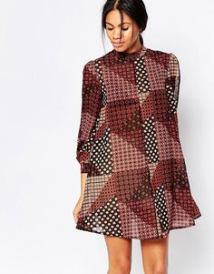 Influence | Influence High Neck Split Sleeve Swing Dress In Patchwork Print