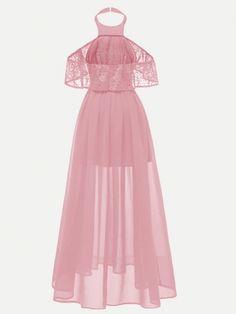 Women Halter Lace Pink Sexy Maxi Chiffon Dress - S Pretty Dresses, Sexy Dresses, Evening Dresses, Short Dresses, Fashion Dresses, Pink Dresses, Party Dresses Online, Party Dresses For Women, Club Dresses