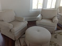 For Sale - 2 Flax Linen Club chairs with round ottoman | SoWal Forum