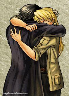 Royai - Hug by =Amarevia on deviantART // And btw, I adore it when Hawkeye wears her hair down. ^_^