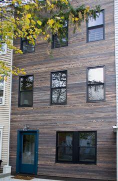 MURASAKI shou sugi ban charred cypress exterior siding in Park Slope Brooklyn NYC