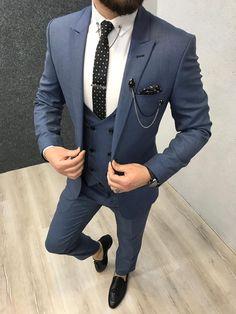 Paul Blue SlimFit Suit is part of Blue slim fit suit - Product SlimFit vest suit Size 464850525456 Suit material wool, poly Machine washable No Fitting Slimfit Remarks Dry Cleaner Suit Mens Casual Suits, Grey Suit Men, Mens Fashion Suits, Mens Suits, Formal Suits, Womens Fashion, Blue Slim Fit Suit, Blue Suits, Best Suits For Men