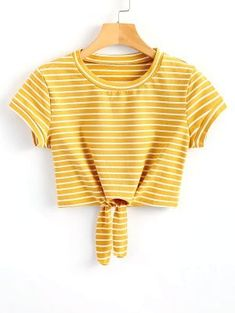 Striped Knot Front Crop Tee - Yellow S
