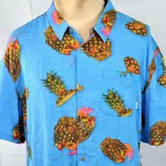 56df8407a VANS Vista Pineapple Skull Mens Button Down Shirt 2XL XXL Slim Hawaiian NWT  #VANS #