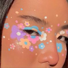 Flower Makeup, Pastel Makeup, Retro Makeup, Dark Makeup, Unique Makeup, Creative Makeup Looks, Cute Makeup, Face Paint Makeup, Skin Makeup