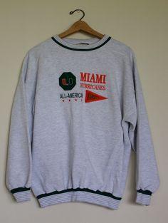 Vintage University of Miami Sweatshirt by CapItOffVintage on Etsy 70eceebc3
