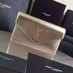 2016 Cheap YSL Out Sale with Free Shipping-Saint Laurent Monogram Envelope Chain Wallet in Metallic Grain Leather