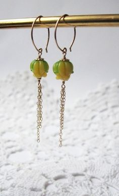 "Gold-filled Earrings with handmade glass flower beads ""Caltha"" by TuuliK"