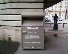 Clothing recycling bins are popping up everywhere in Paris. The city has 100 of them and plans to have 300 in place by the year 2015. The goal: to make it easy to donate the 16 kilos (35 lbs!) of unwanted textiles and shoes which the average Parisian currently throws away every year. The good stuff is sold in charity shops, the rest is processed into bulk textiles for industry. This effort is providing jobs and improving sustainability. Click on the photo to find a an Exotextile bin near…