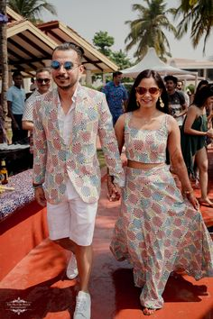 Color Coordinated Outfit Ideas For The Millennial Bride And Groom Pool Party Outfits, Summer Wedding Outfits, Matching Couple Outfits, Matching Couples, Red Waistcoat, Pool Wedding, Shadi Dresses, Mehendi Outfits, Indian Wedding Couple