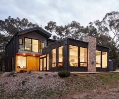 These windows look out to Mount Macedon and take in the Northern light. Dream Home Design, House Design, Sustainable Building Design, House Cladding, Coastal House Plans, Modern Mountain Home, Beach Cottage Style, Beach House, Shed Homes