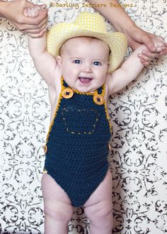 Crochet Cowboy Overalls - AAHHH!!  I wish I knew how to crochet more than a circle!