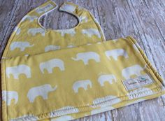 Baby Bib & Burp Cloth Set  Ellie Fam in Yellow by by Saravadesigns, $18.00
